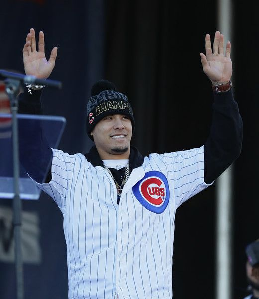 Javier Baez #9 of the Chicago Cubs waves to the crowd during the Chicago Cubs victory celebration in Grant Park on November 4, 2016 in Chicago, Illinois. The Cubs won their first World Series championship in 108 years after defeating the Cleveland Indians 8-7 in Game 7.