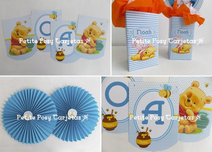 banderines - centros de mesa y adornos para cumple- Winnie pooh bebe