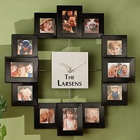 Photo frame wall clock - Quote for center - Time spent with family is time well spent