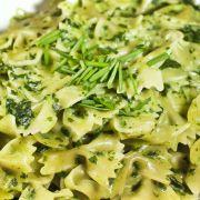 Scampi met verse spinazie pasta