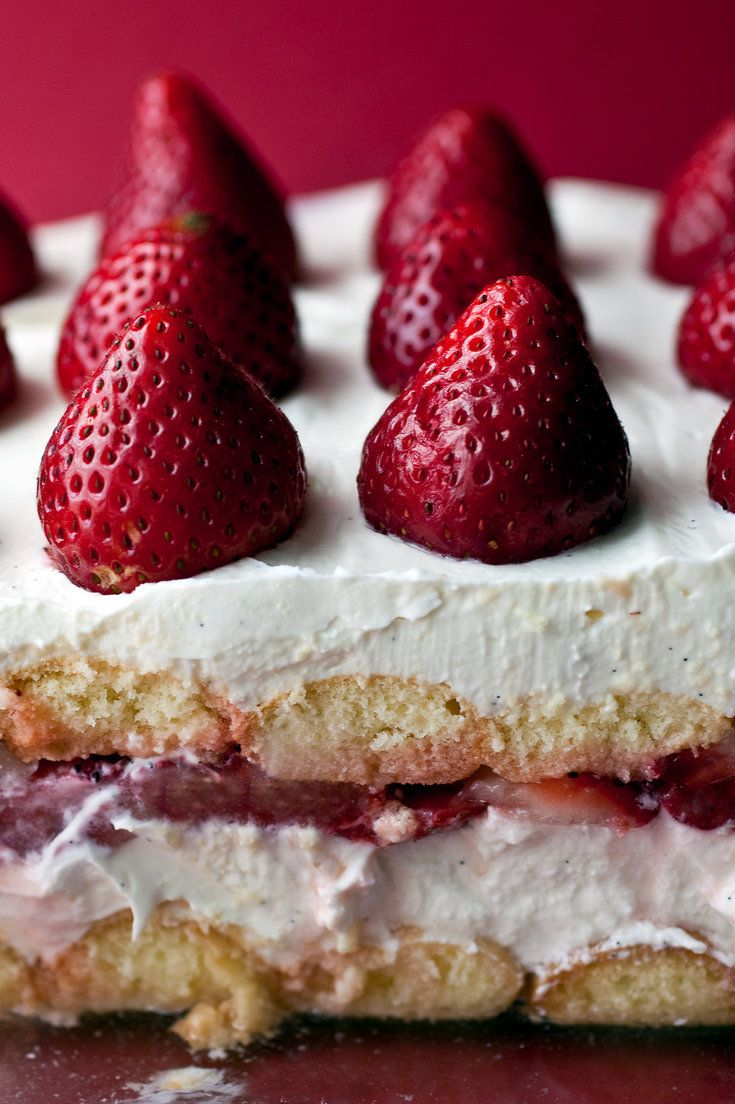 This dish is sort of a summery tiramisù. The creamy mascarpone and ladyfinger layers in tiramisù are a natural with strawberries. (Photo: Andrew Scrivani for The New York Times)