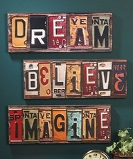 re-purpose old license plates into art