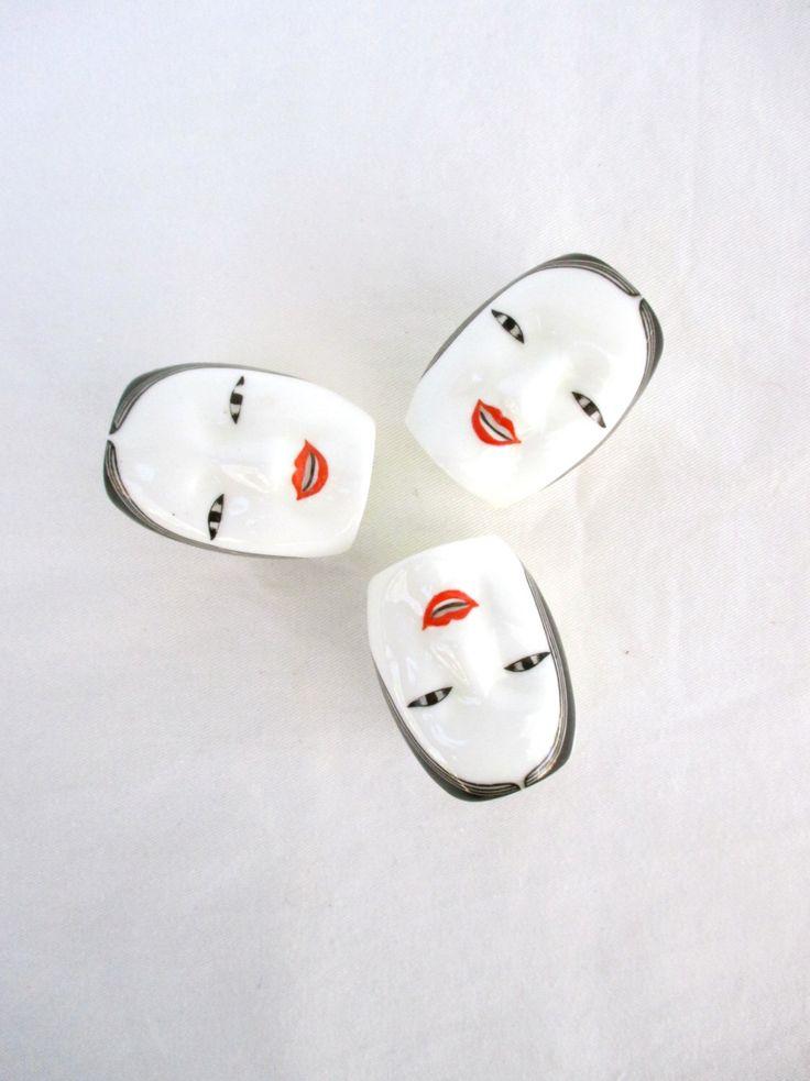 Vintage Napkin Rings Art Deco Women Girls Red White Breakfast Lunch Dinner Party Set 3 Three Faces Cute Table Setting Asian by greenphilosophie on Etsy https://www.etsy.com/listing/225965725/vintage-napkin-rings-art-deco-women