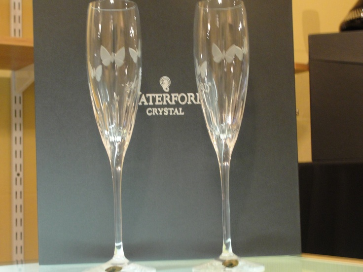 Wedding Flutes with butterflies on them, just beautiful. By Waterford