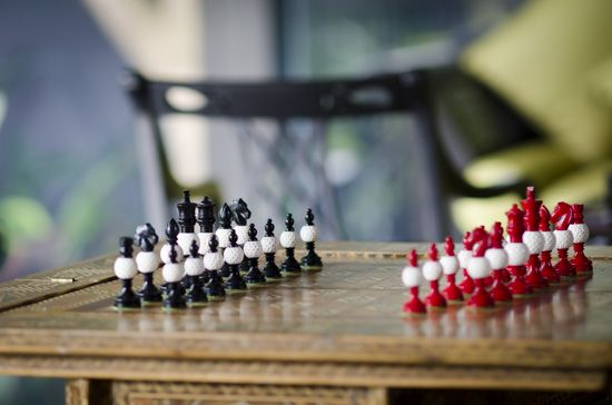 Our beautiful black, white and red chess set.