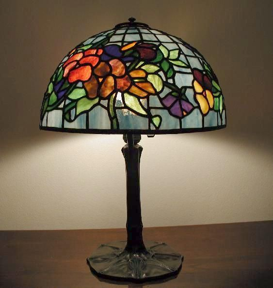 Pansy in aqua stained glass lamp crafted by coughran studio