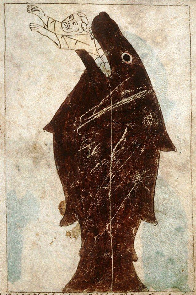 Jonah Pamplona Bible • Navarre 1197 (Amiens Bibliothèque Municipale)  Trazos simples, un toque de clacisismo con epoca prehistorica