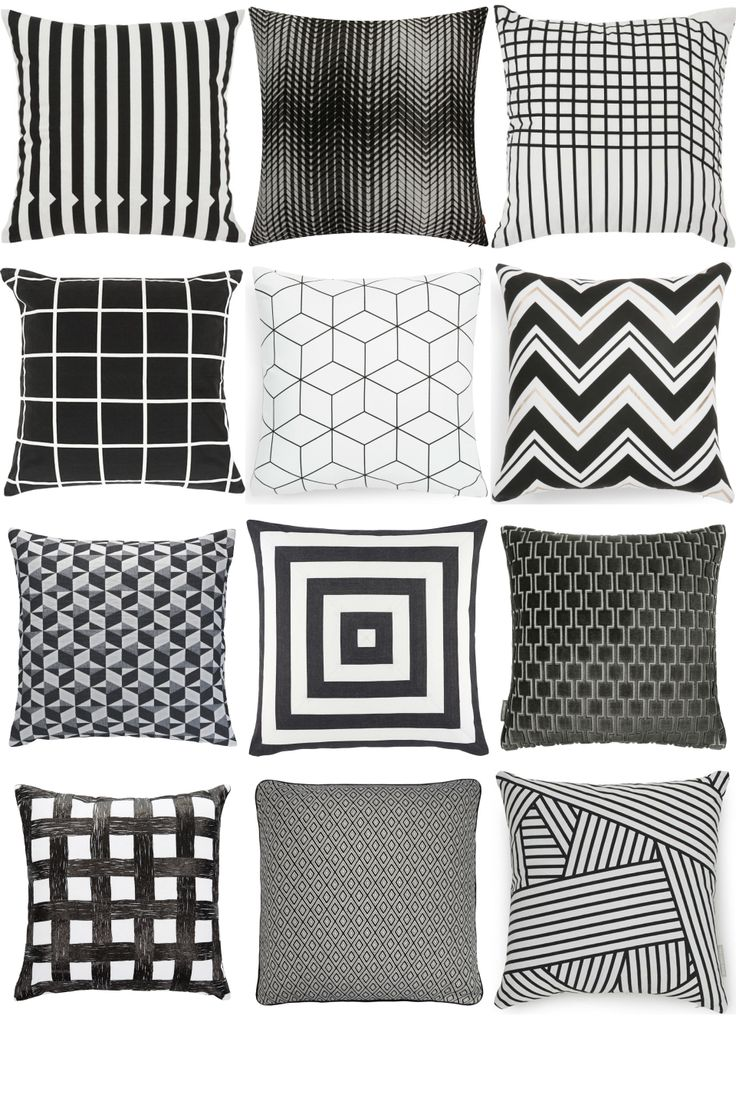 Black & White Cushions Inspiration Board. Looking for black and white cushions for your living room couch, bedroom or any other room in the house? Get inspiration at www.furnishful.co.uk and find beautiful home decor items and accessories from dozens of well-known UK retailers.
