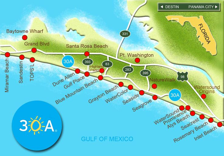Click on the red dots above to learn more about each of 30A's wonderful beach communities, or take a virtual tour below! Use the