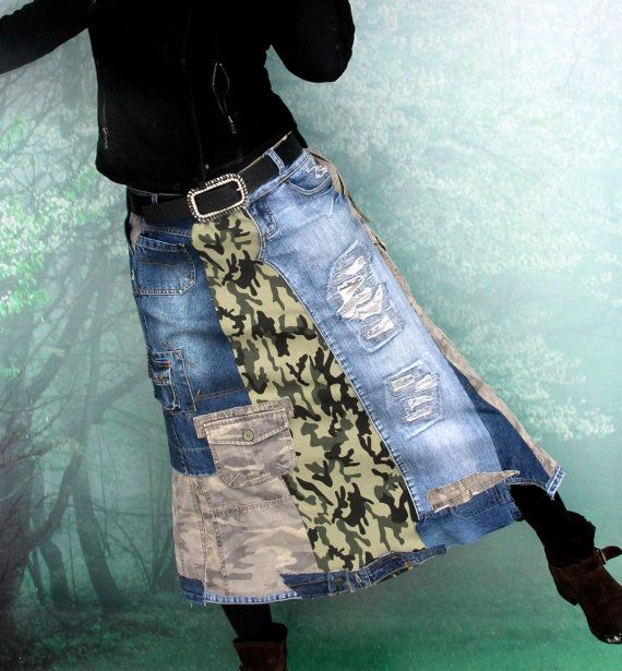 M-L Camo military patchwork denim recycled long skirt hippie boho style
