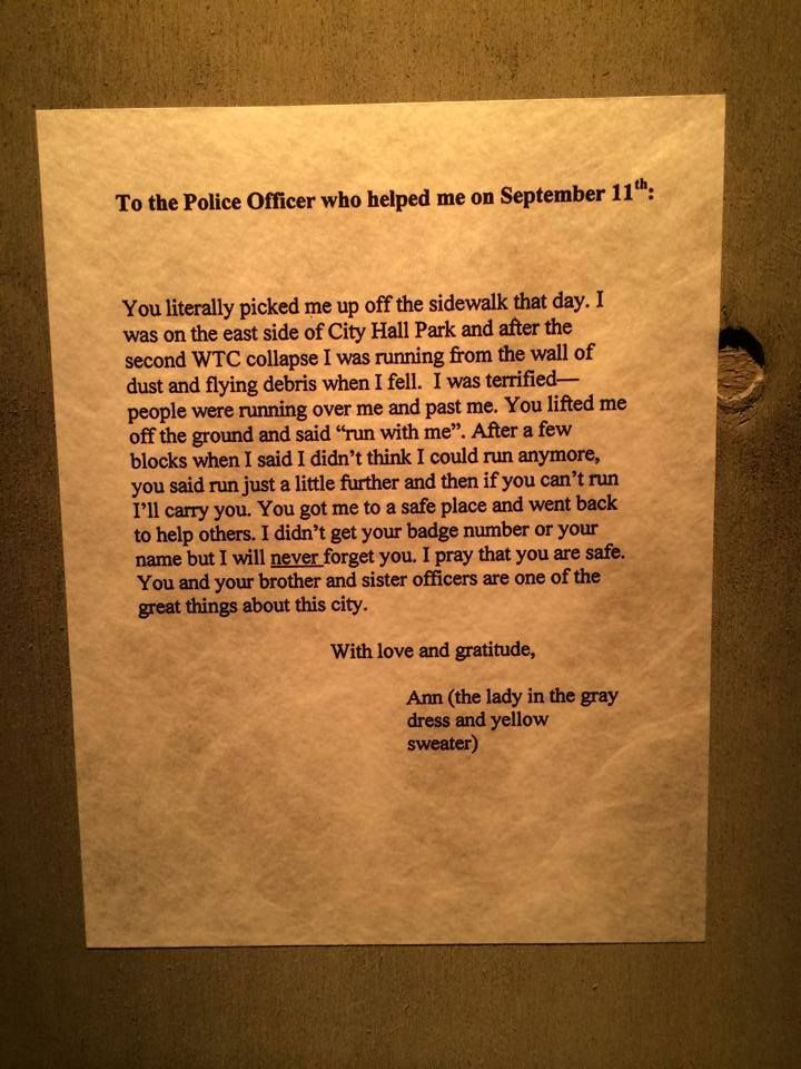 a letter of appreciation to the police officer and the