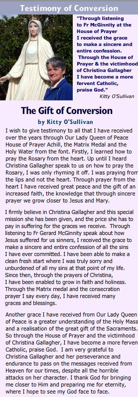 Christina Gallagher Delivers Heaven's Messages to the World - Our Lady Queen of Peace House of Prayer Achill