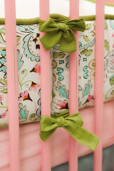 Love Bird Damask Print...Laila Ali's daughter's nursery bedding designed by Carousel Designs