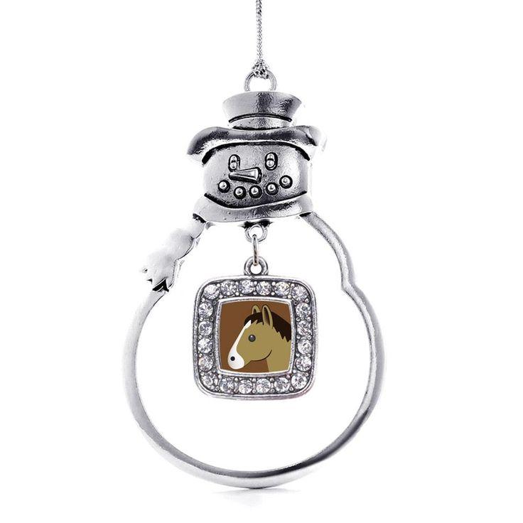 Horse Emoji Square Charm Holiday Ornament