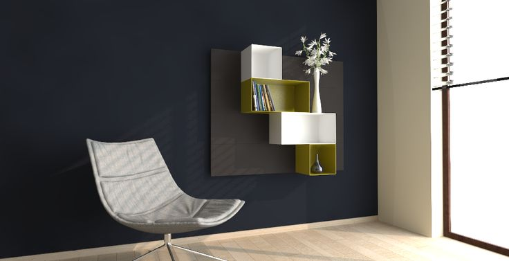 click and open 3D planner YaCUBE magnetic modular shelves . Modular exapmle of contemporary living room .