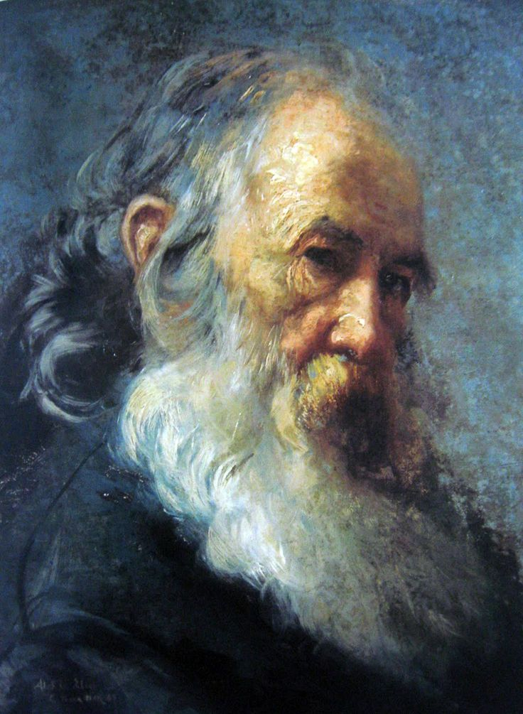 Carlos Baca Flor (1867-1941) Cabeza de anciano, 1887, oleo, 45 x 34 cm