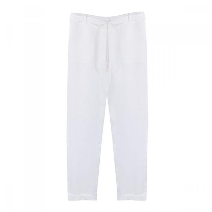 Pantalon+en+lin+plumetis