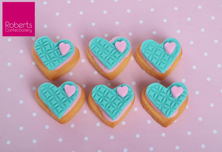 Heart Cookie with Satin Ice Turquoise Fondant
