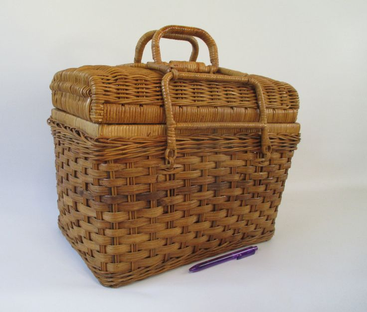 Wicker Basket, Vintage Picnic Hamper Travel Lunch Box Woven Reed Brown Tan Decorative Storage Craft Project Carry All Tropical Cottage Cozy by HobbitHouse on Etsy