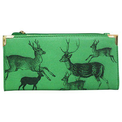 Damen Geldbeutel Geldbörse Clutch Pochette Vintage-Stil Reh Deer