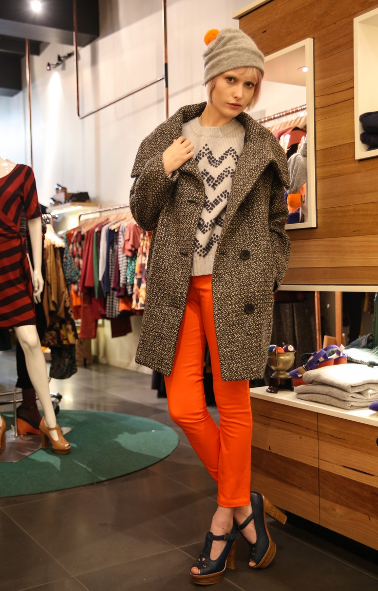 Styling fun with Gorman's current pieces. How fantastic are these orange hues, especially teamed with the textured trench! I love every piece in this outfit! #fashion #style #gorman