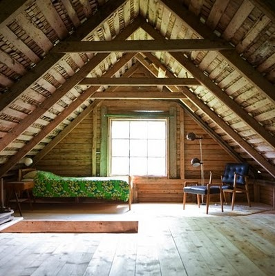 Swedish Style: Elisabeth Dunker's Country Home. a sparse attic room.