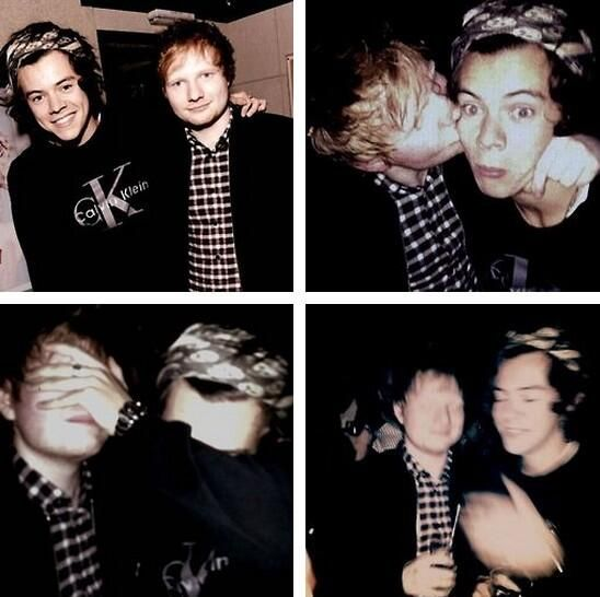 The progression of getting drunk: Demonstrated by Harry Styles and Ed Sheeran.