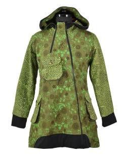 Khaki kabátek s kapucí a asymetrickými zipy 55cfc923b1
