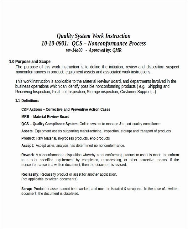 Work Instruction Template Word Best Of Working Instruction