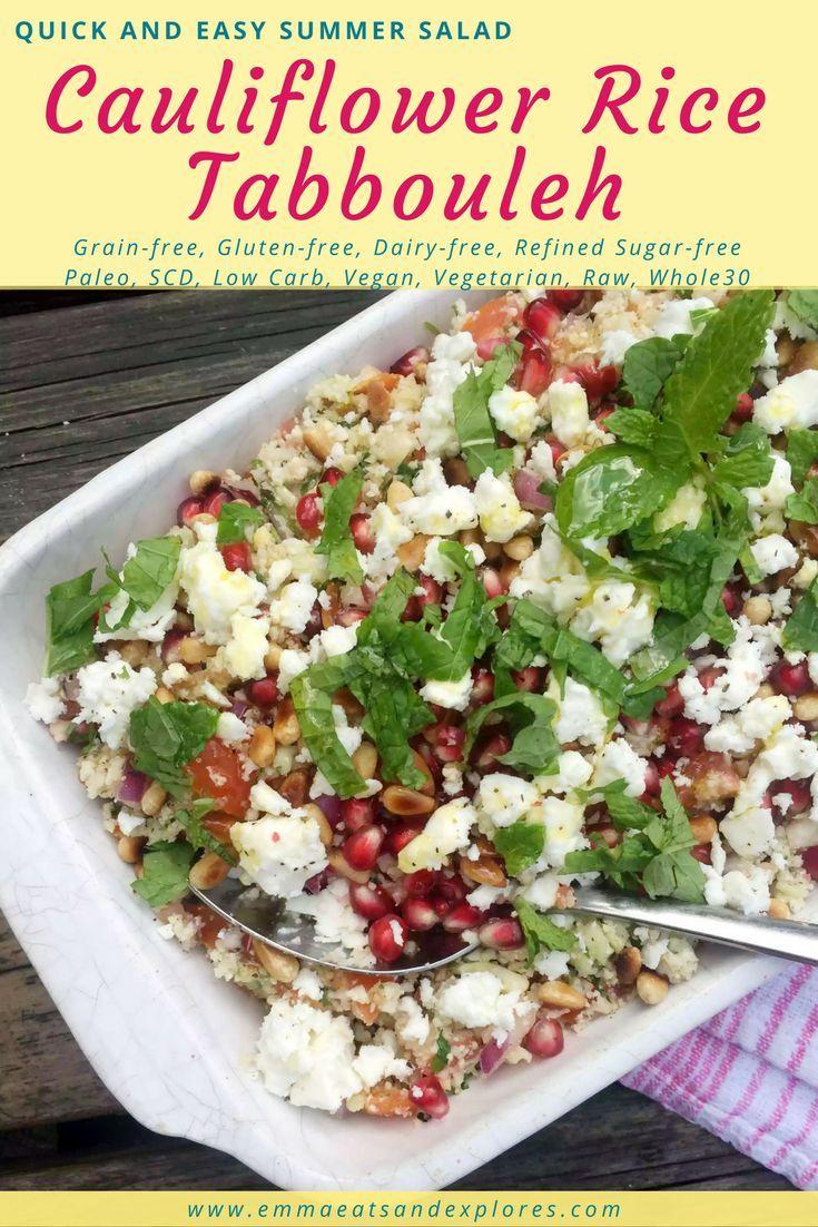 Cauliflower Rice Tabbouleh by Emma Eats & Explores - Grainfree, Glutenfree, Dairyfree, Refined Sugarfree, Paleo, SCD, Raw, Whole30, Vegan Vegetarian, Low Carb
