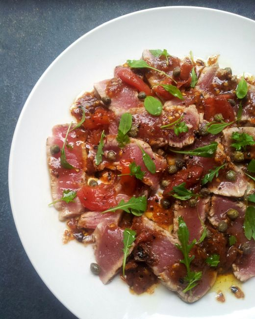 Seared Tuna with a Burnt Tomato & Caper Dressing from Scrumptious