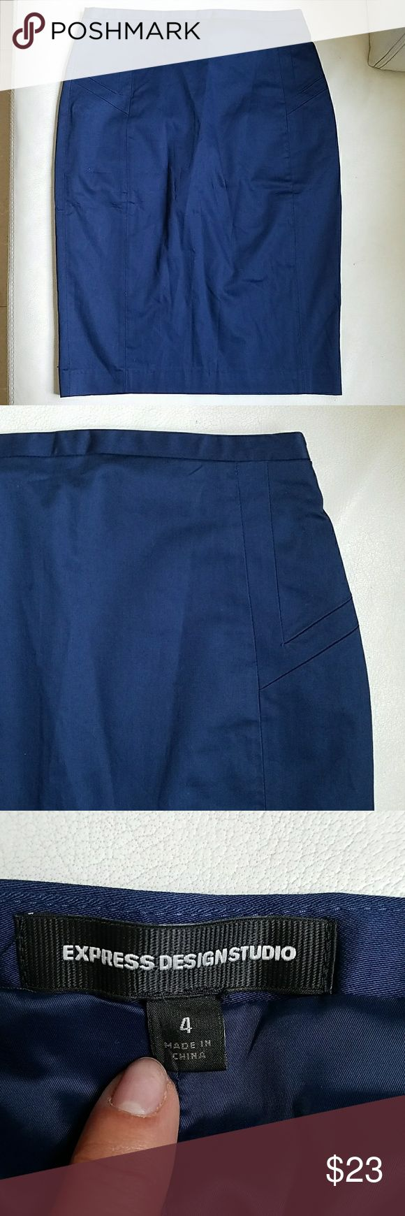 NWOT..Navy blue  pencil skirt Never worn, #new #pencilskirt #skirt #size4 #express #navy invisible zipper on the side, 99%cotton with 1% spandex. Lined. Its really nice. Express Design Studio Skirts Pencil