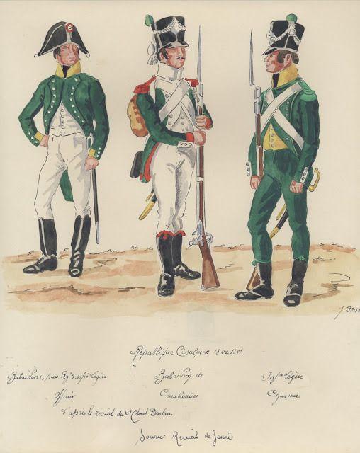 Republique Cisalpine;  officier d' Infanterie Legere, carabinier, chasseur inf.Legere.