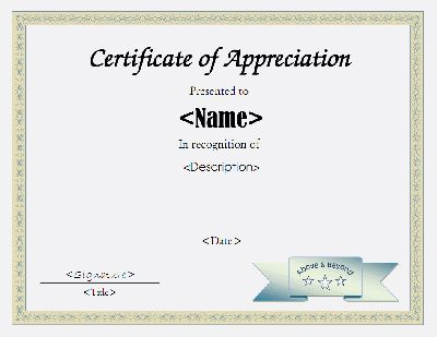 206 best certificate design images on pinterest certificate certificate document template certificate of appreciation template in pdf and doc formats yadclub Choice Image