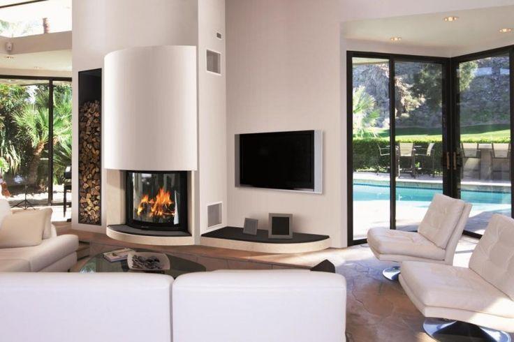 cheminée/insert arrondi avec tablette tv et range bois
