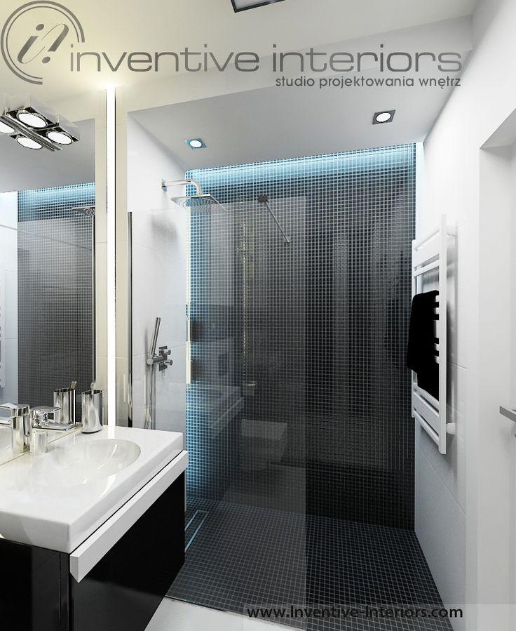 Projekt łazienki Inventive Interiors - męska łazienka biało czarna - czarna mozaika w kabinie - kolorowe oświetlenie