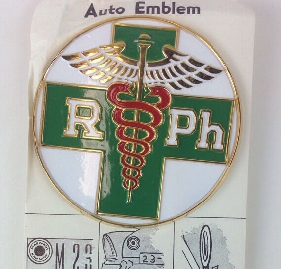 Vtg 1960 RPh Registered Pharmacist Auto Emblem Car Badge 3
