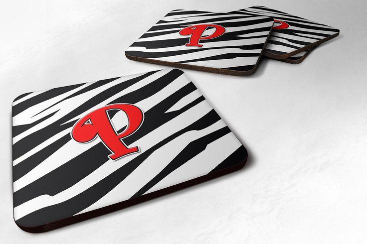 Set of 4 Monogram - Zebra Red Foam Coasters Initial Letter P