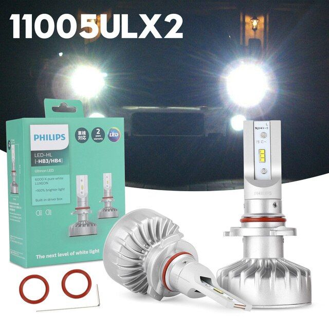 Philips Ultinon Led Hb3 Hb4 6000k Pure White Headlight Brighter 160 11005ul Car Headlights White Car Pure Products