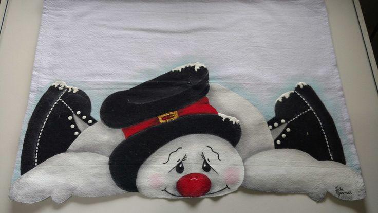 Pano de prato boneco de neve | Ieda Ivone Neuhaus Germer | Elo7