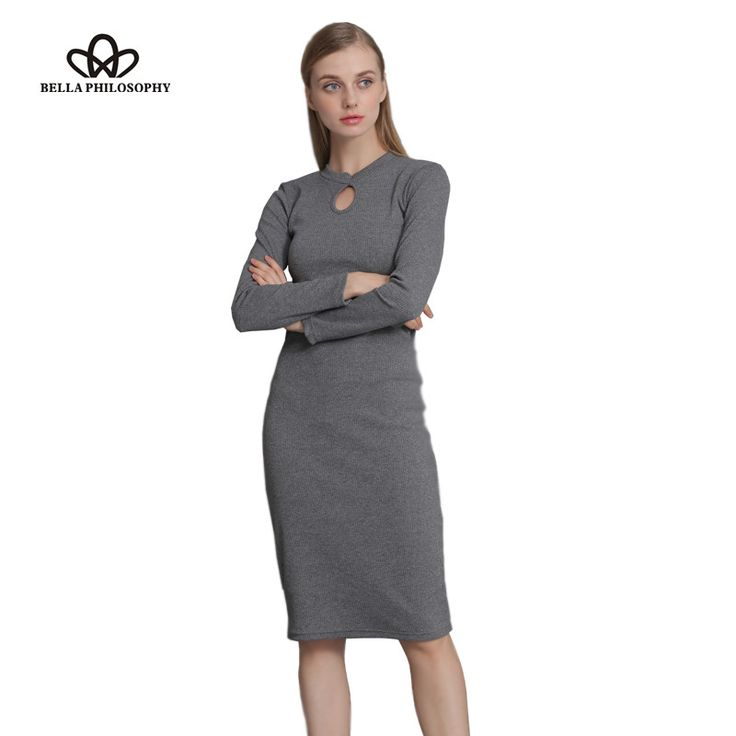 Fall Winter Women Stretchy Knitted Sweater Dresses Stand Collar Hollow out Ruched Long Sleeve Skinny Pencil Dress