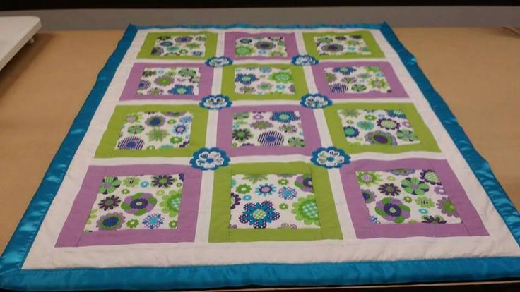 Flower appliqued Baby Quilt, Chenille Backed by SensationalEmb on Etsy