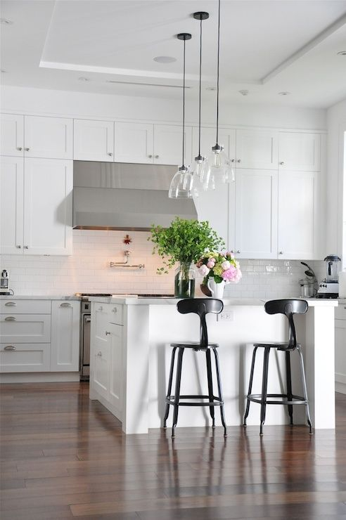 kitchens - French T Back Barstool, shaker cabinets, white shaker cabinets, double stack upper cabinets,