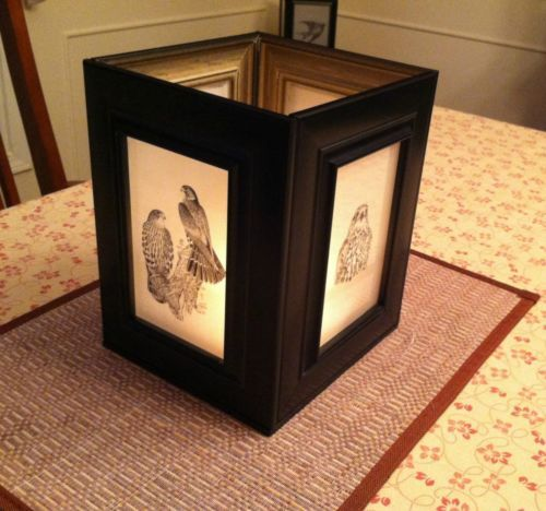 Handcrafted hawk picture frame luminary candle holder