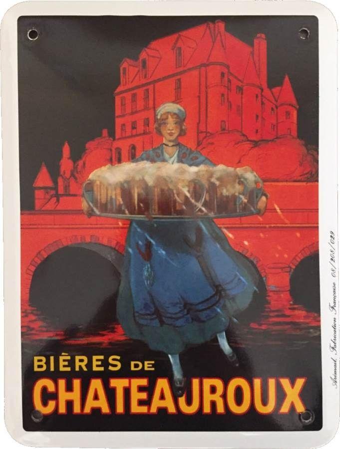 Bières de Chateauroux : Plaque décorative rétro en émail représentant la bière de Châteauroux. Idéal pour créer une ambiance vintage dans votre cuisineou pour la décoration d'un bar, restaurant, brasserie ou café.