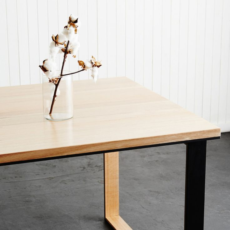 The Black Metal Table (Verse 1) - Steel Box Legged Table With Recycled Messmate In-Lay