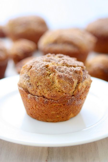Cinnamon-Sugar Pumpkin Muffins. Made these tonight 9/30/13. They are so yummy! I used 1c brown sugar instead of the 1 1/2c white sugar, half whole wheat flour, half all purpose, and baked them in mini muffin tins. Delightful!