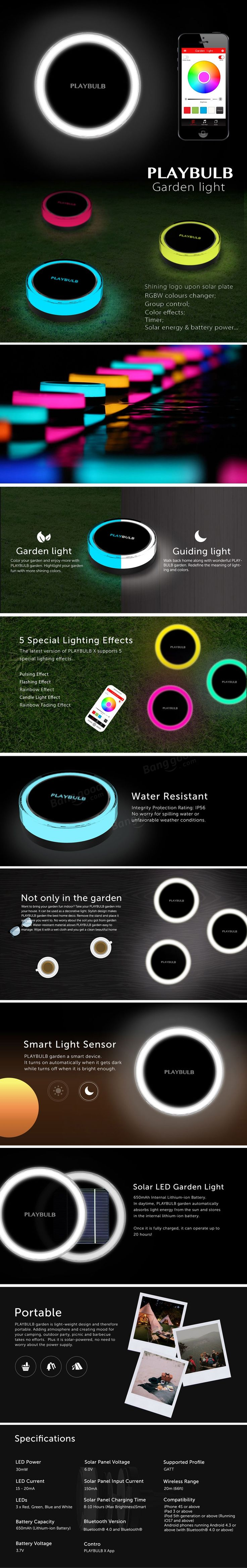 MIPOW PLAYBULB BTL400 Bluetooth Intelligent LED Solar Power Garden Light Outdoor Lawn Lamp at Banggood