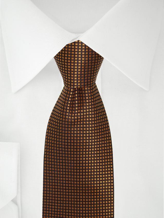 Cravate orange cuivré à carreaux noirs