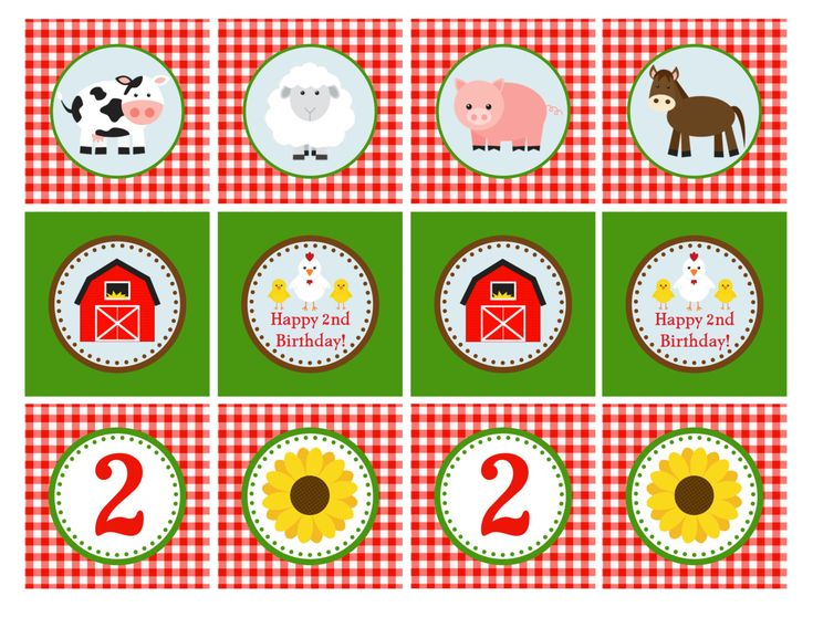 PRINTABLE Farm Animal Cupcake Toppers 2 by GeminiCelebrations, $8.00